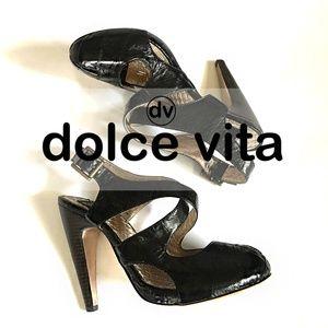 Dolce Vita Patent Leather Black Pinup Retro Heels